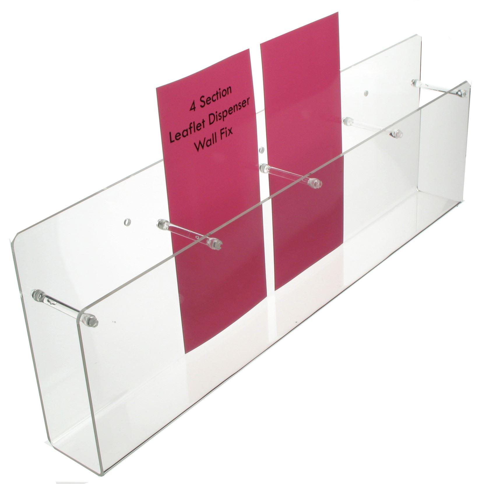 4 Section Leaflet Dispenser - Wall Fix